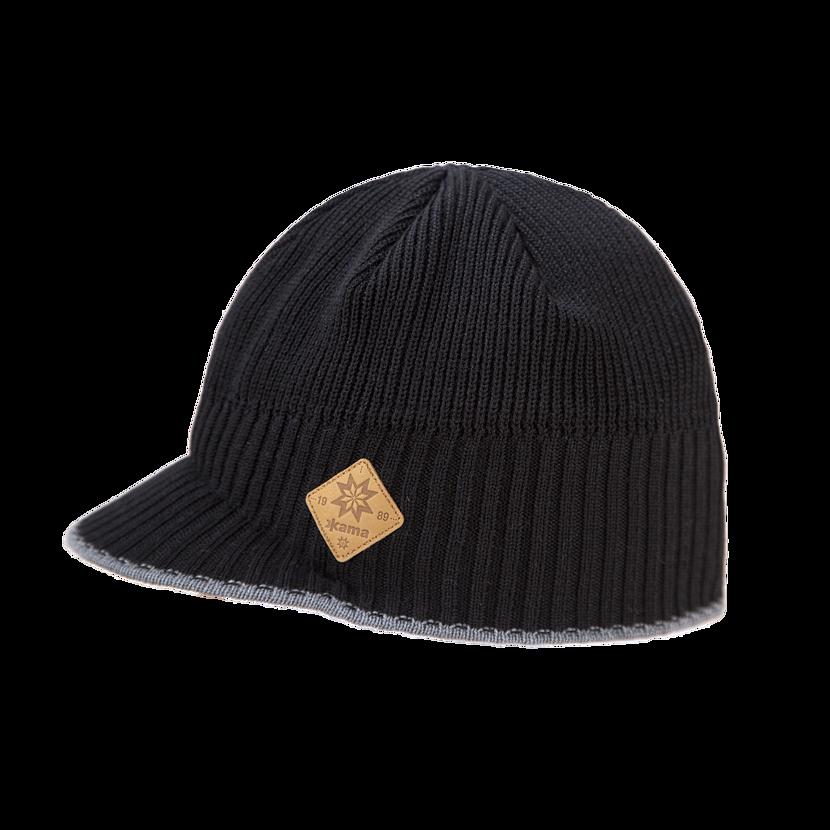Pletená čiapka Merino Kama A115 čierna