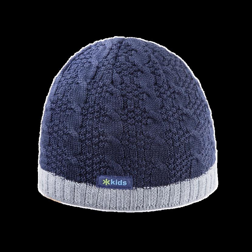 Kids knitted merino cap KAMA B80 - Dark Blue