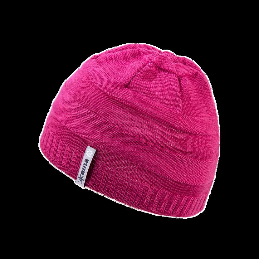 Kids knitted merino cap KAMA B78 - Pink
