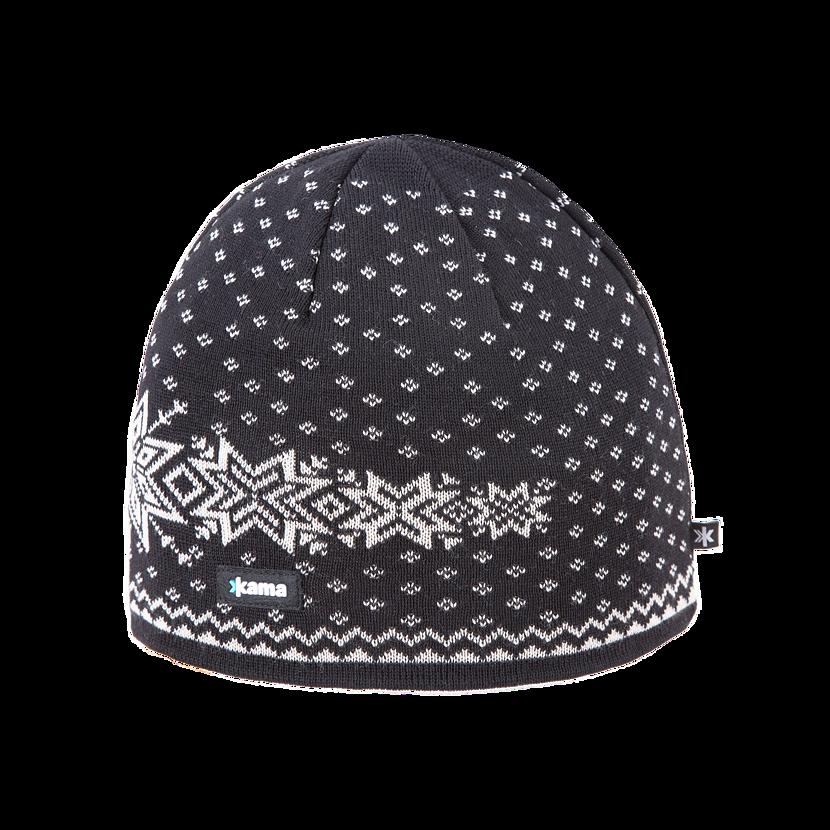 Pletená čiapka Merino Kama A128 čierna