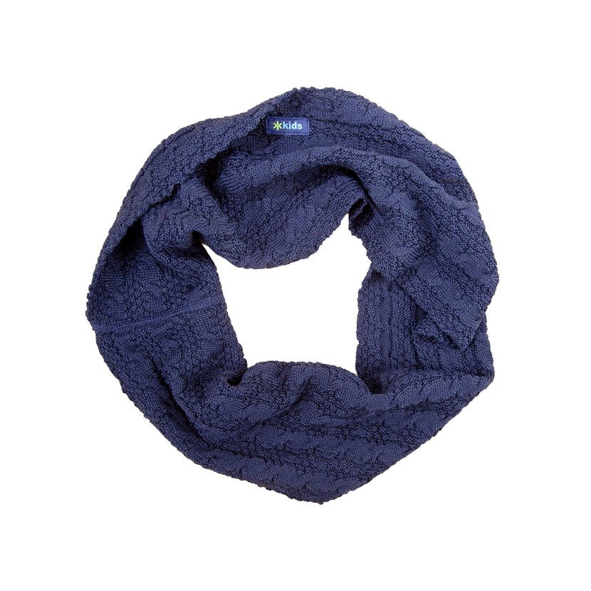 Fular tricotat tip tunel copii Merino SB12  Albastru închis