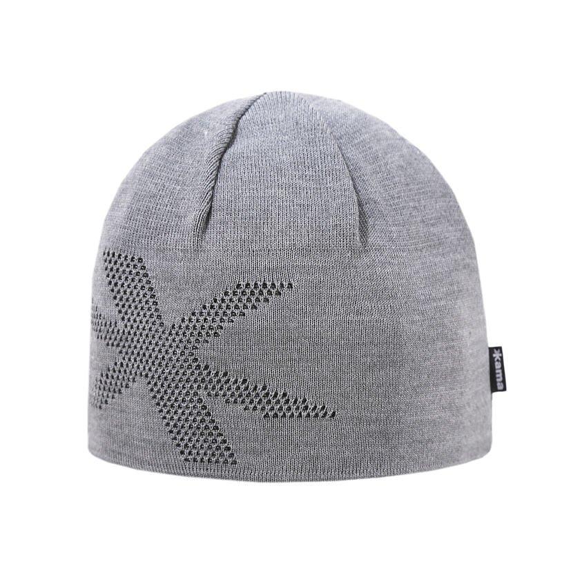 Pletená čepice Merino Kama A161 šedá