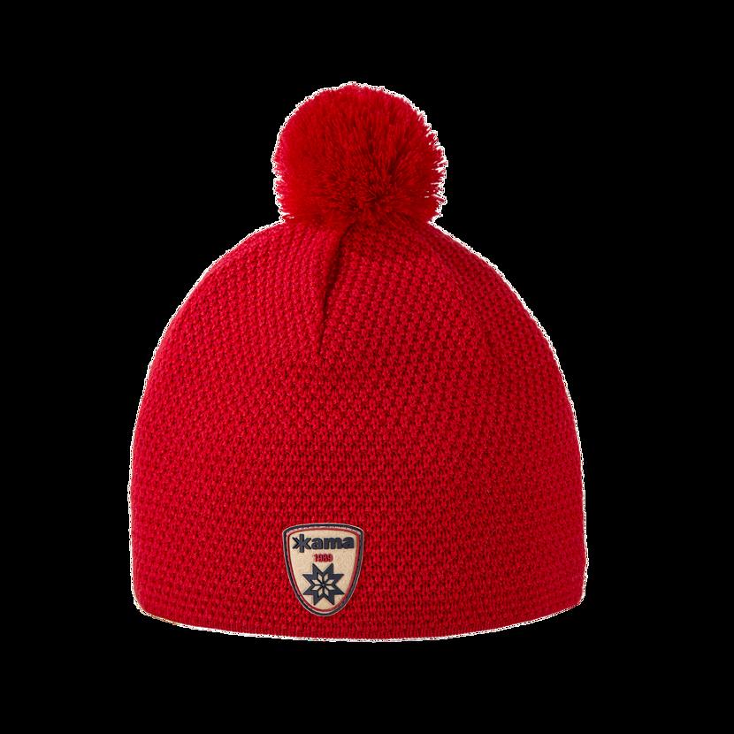 Pletená merino čiapka KAMA A91  červená