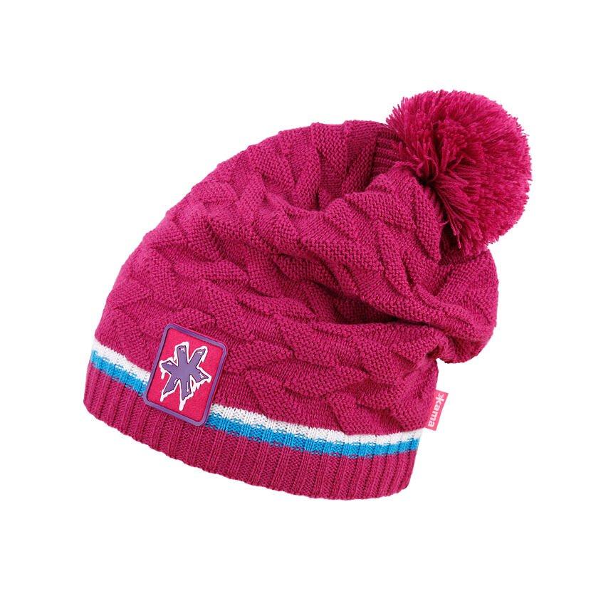 Pletená čiapka Merino Kama K61 Ružová