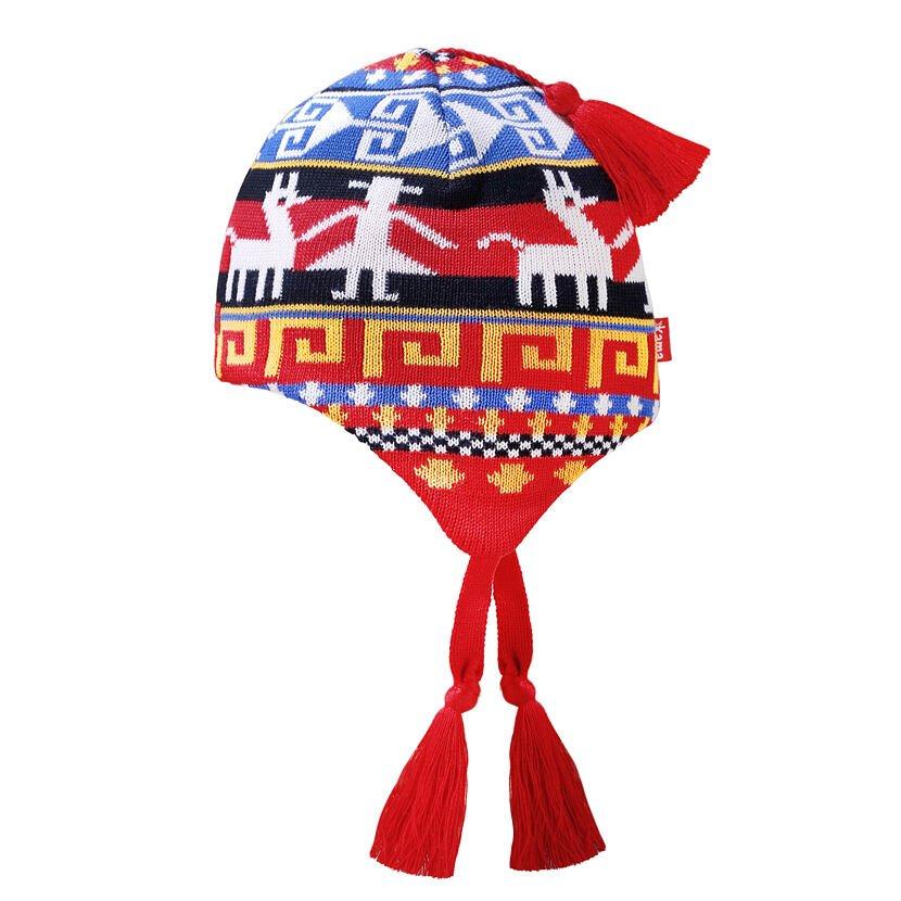 Kids cap with earflaps merino KAMA B82 -  Red