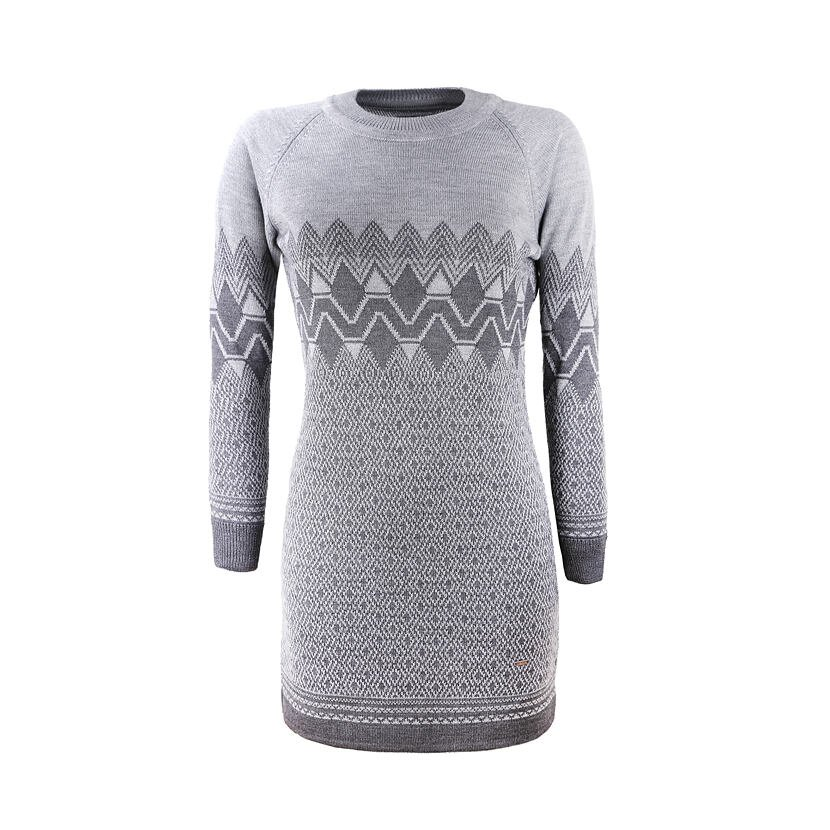 Pletené Merino šaty Kama 5033 Tmavosivá