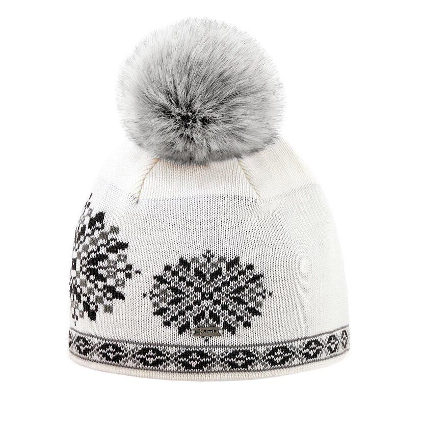 Pletená čepice Merino Kama A157 bílá