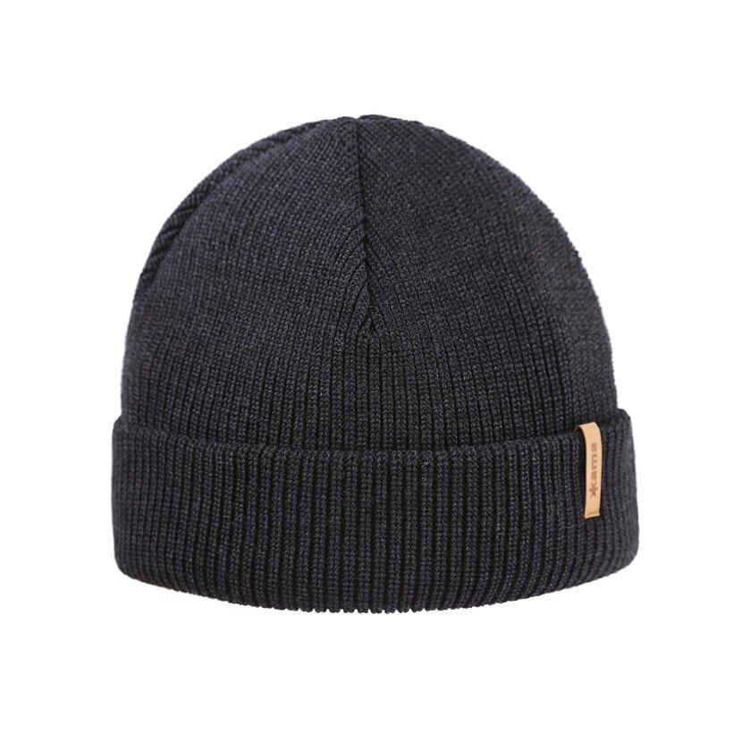 Pletená čiapka Merino Kama A159 tmavo sivá