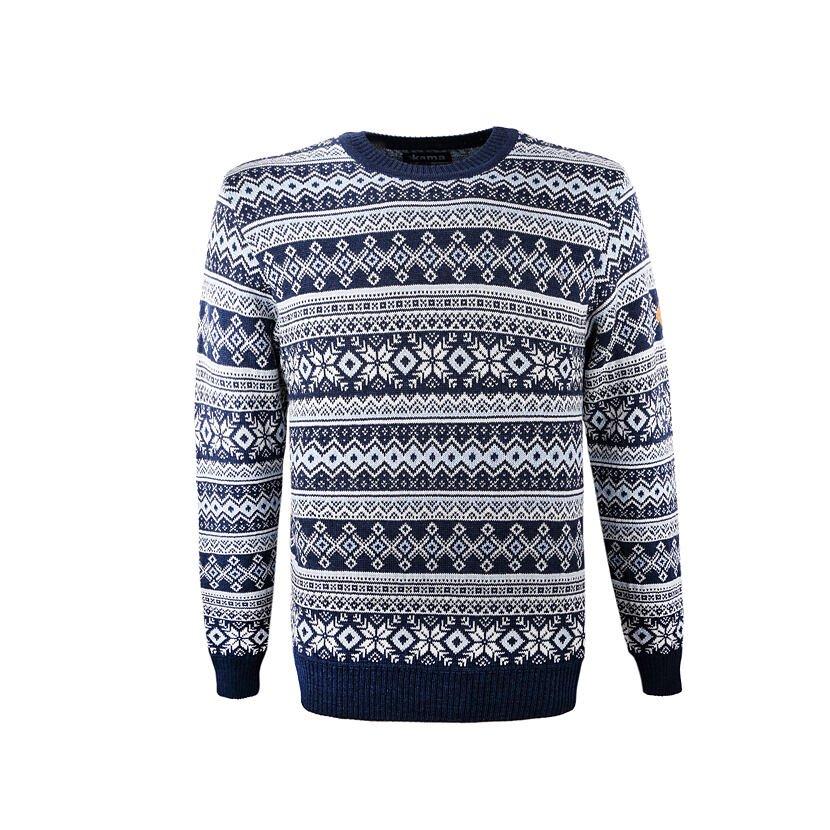 Men's sweater Merino Kama 4057 - Brown / Dark Blue / Navy