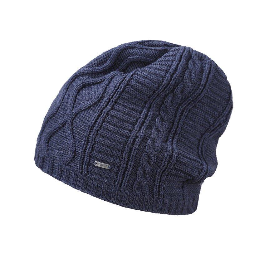 Pletená čiapka Merino Kama A150 tmavomodrá