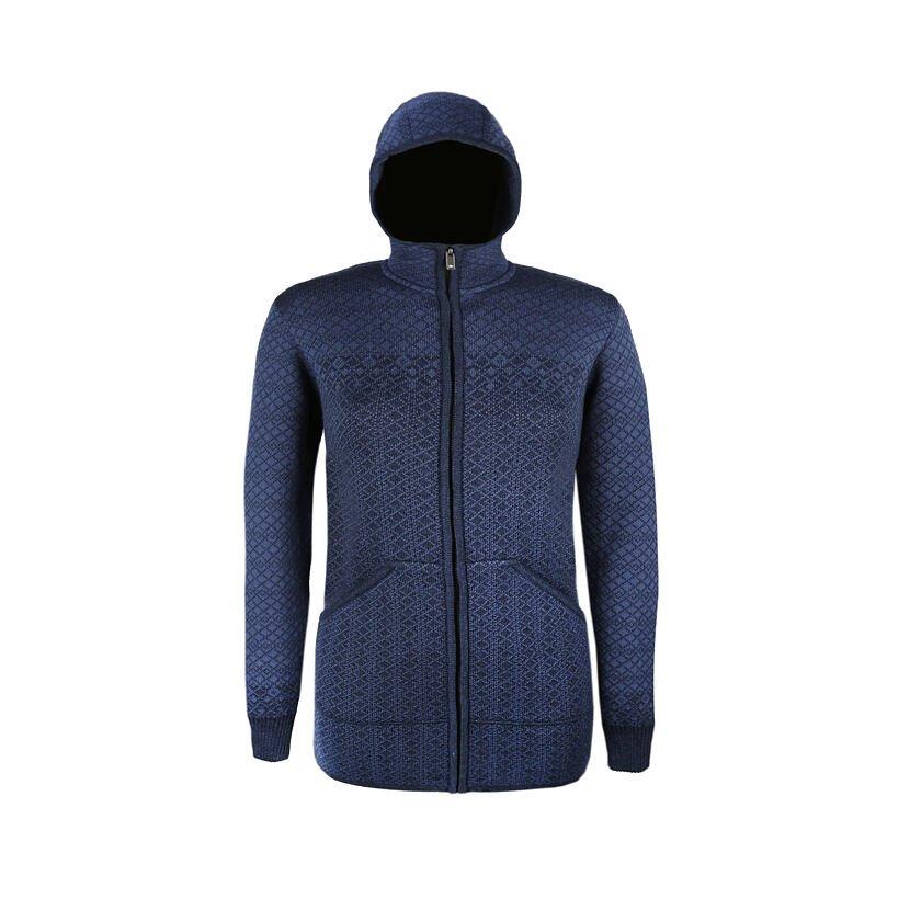 Pulover tricotat Merino pentru femei Kama 5038 - Albastru închis