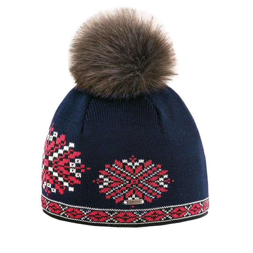 Merino knit hat Kama A157 - Dark blue