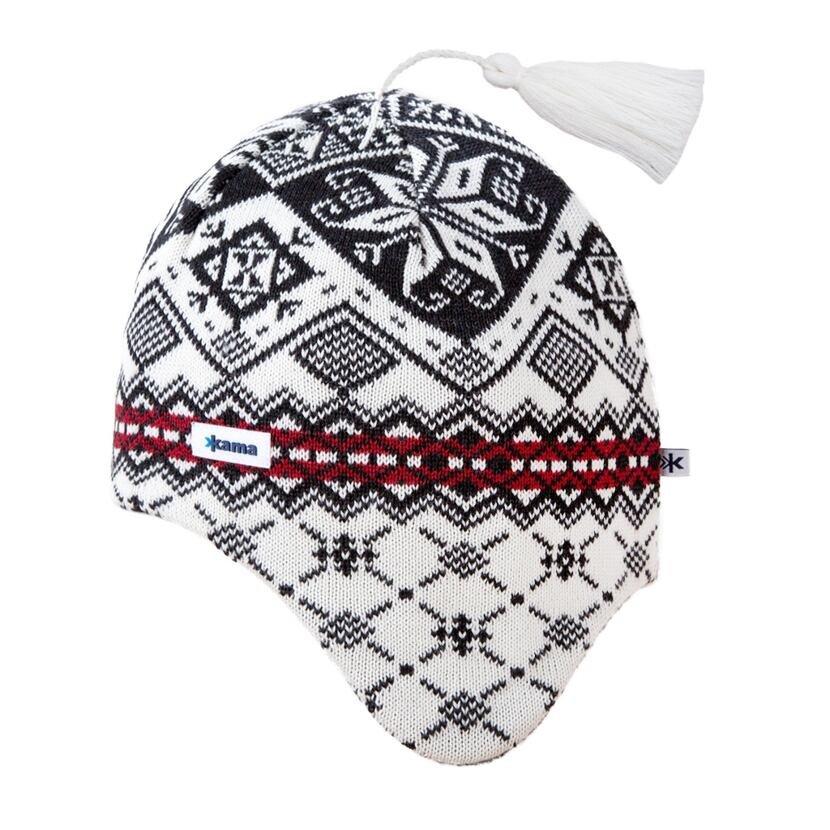 Căciulă tricotată cu clape peste urechi Merino Kama A74 - Alb natural