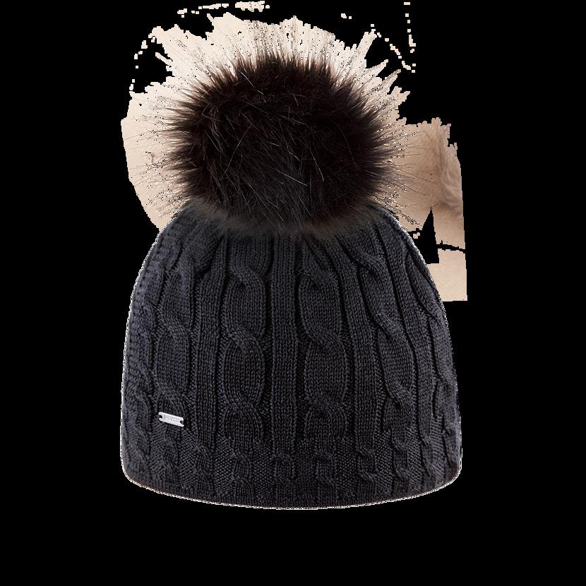 Knitted merino cap KAMA A121  Black