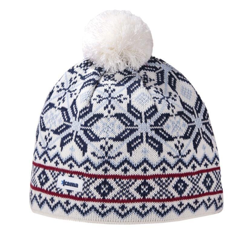 Pletená čiapka Merino Kama AW06 Gore-tex prírodnábiela