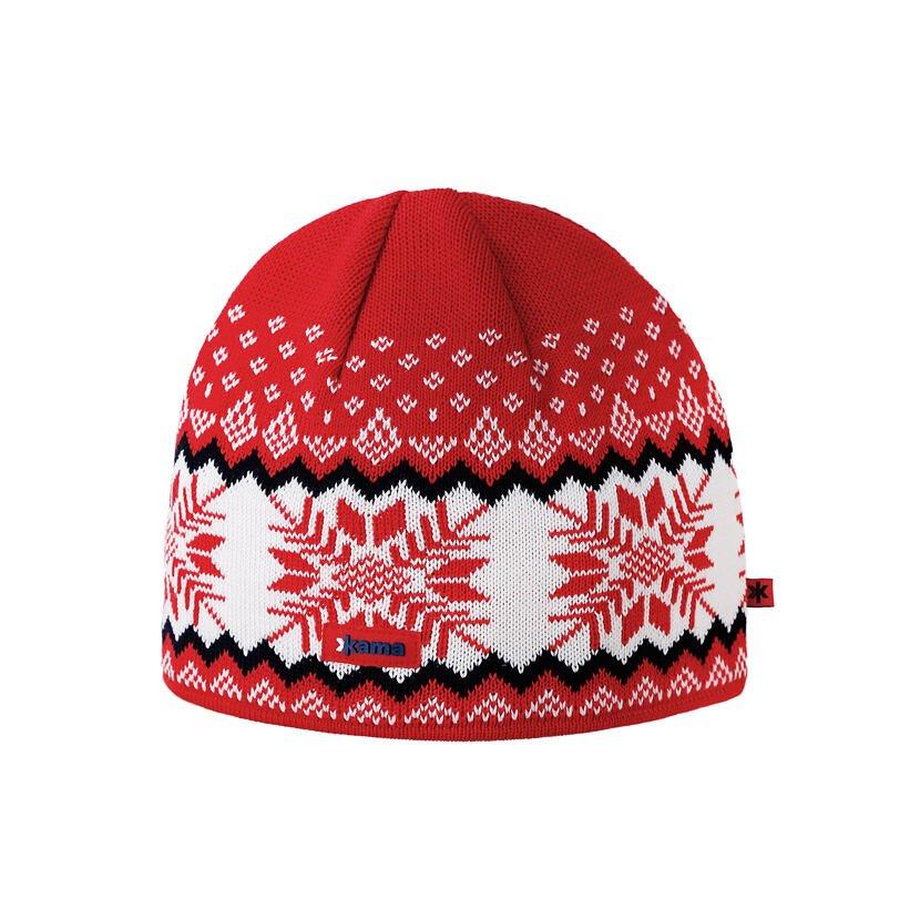 Pletená čiapka Merino Kama A137 Červená
