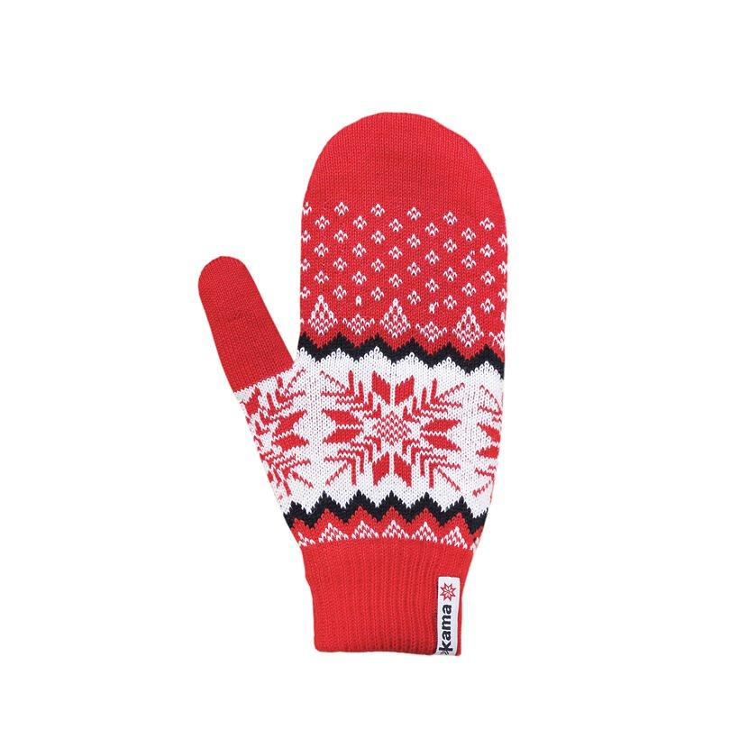Pletené Merino palčiaky Kama R109 červená čierna
