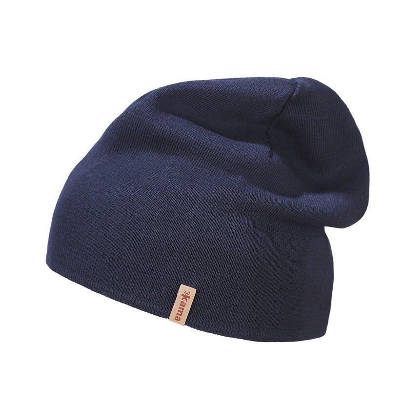 Pletená čiapka Merino Kama A153 tmavomodrá