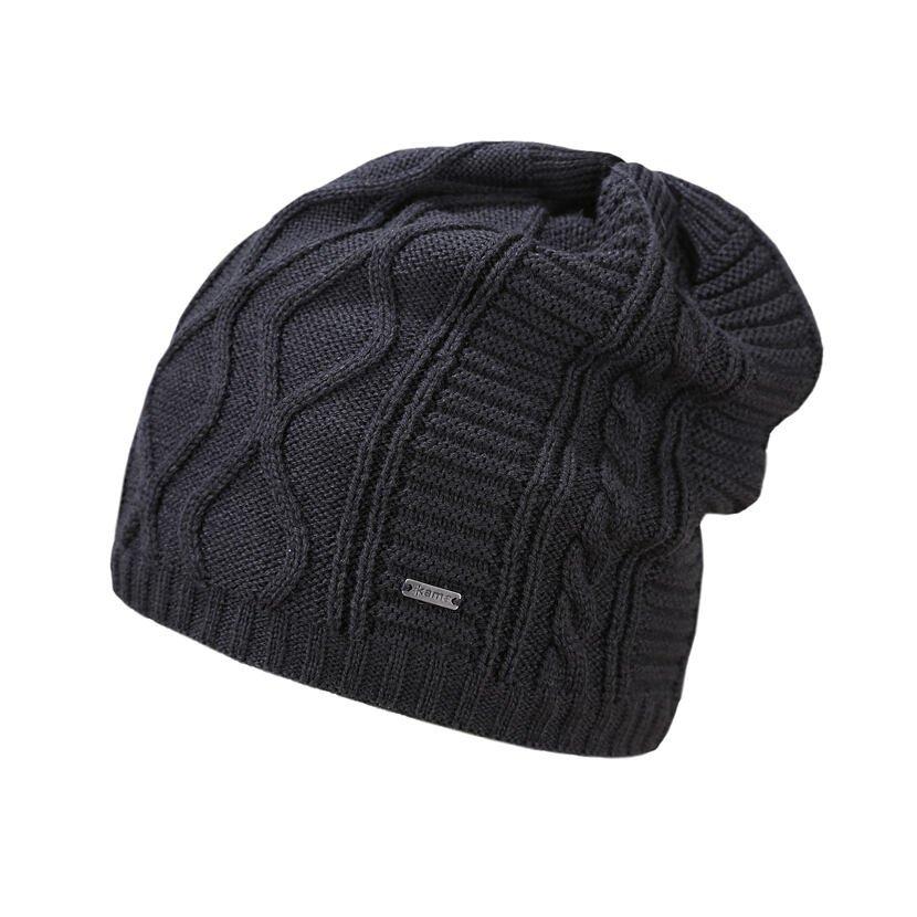 Pletená Merino čepice Kama A150 tmavě šedá