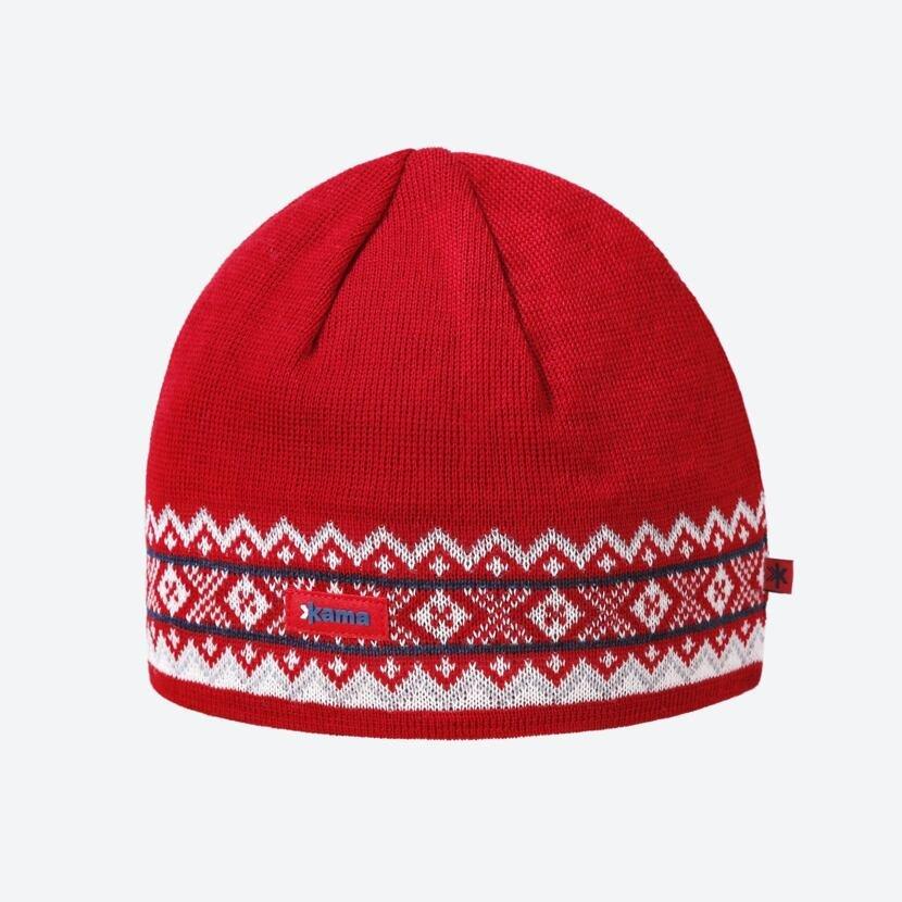 Pletená čiapka Merino Kama A144 Červená