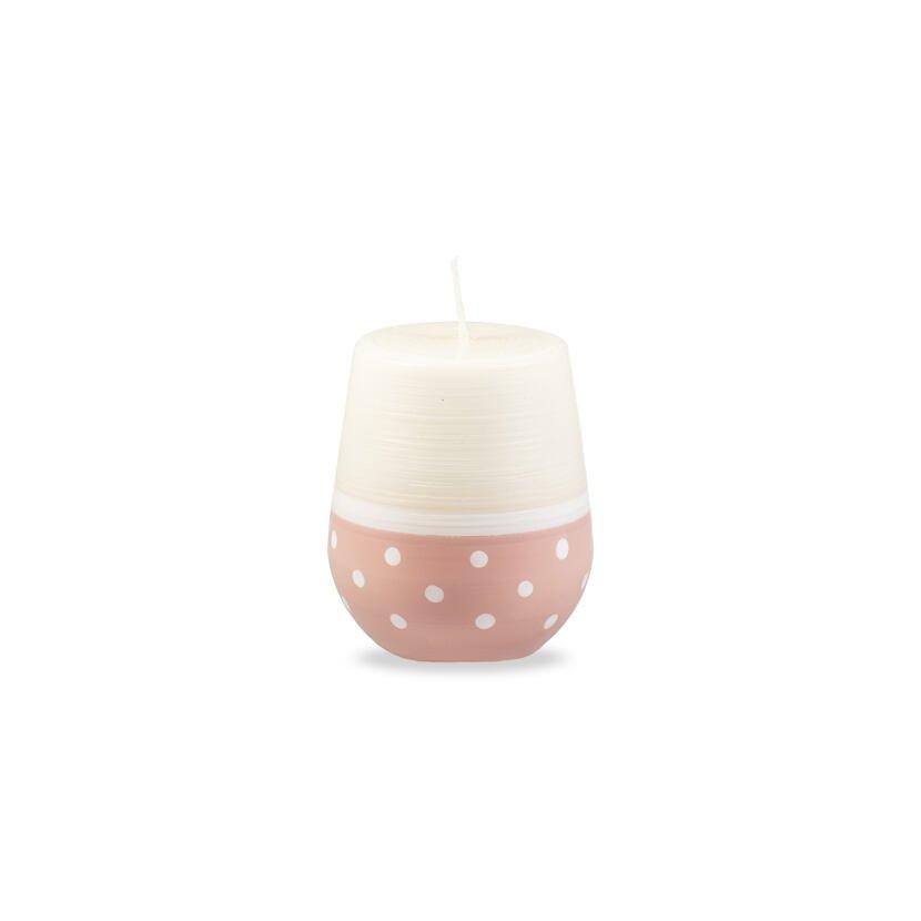 Lumânare ovală buline - roz