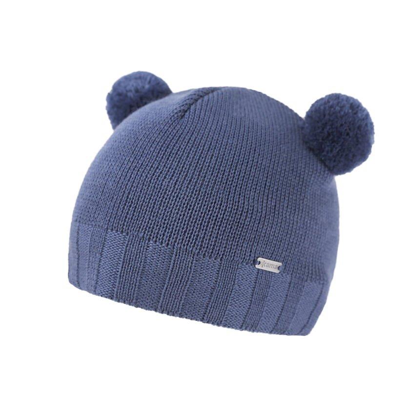 Căciula tricotată Merino pentru copii Kama B91 - Albastru