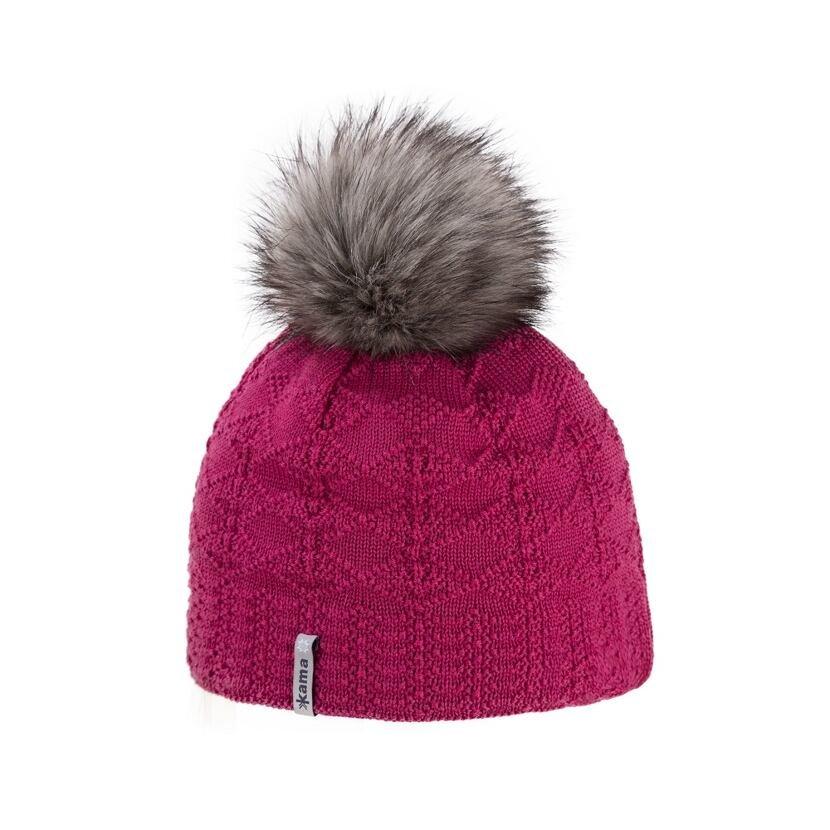 Women's knitted merino cap KAMA A109 -  Pink