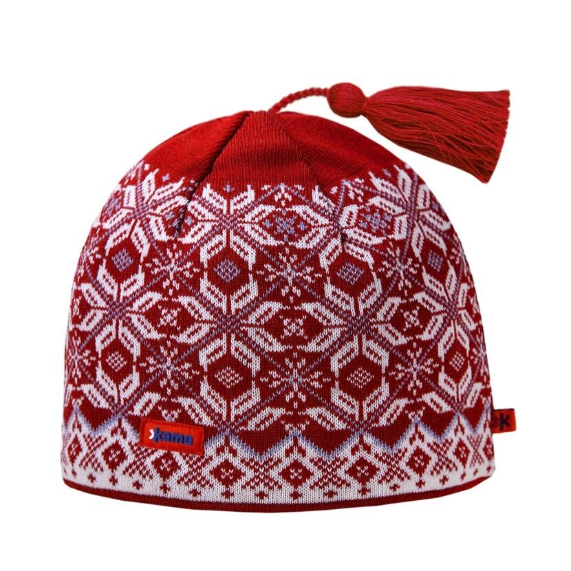 Pletená čiapka Merino Kama A57 červená