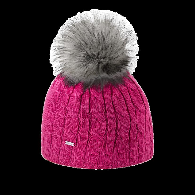 Knitted merino cap KAMA A121 - Pink