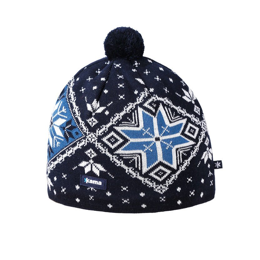 Pletená Merino čiapka Kama A138 Tmavo modrá Tmavomodrá