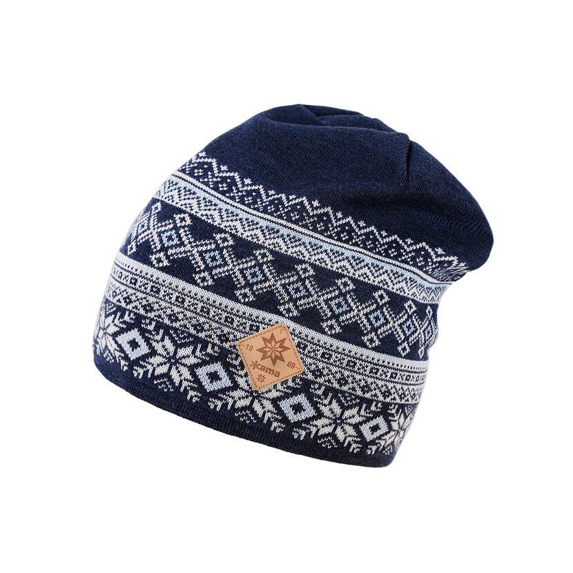 Căciulă tricotată merino KAMA A143  Albastru închis