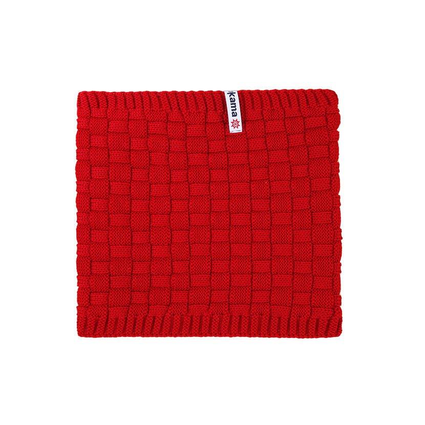 Fular tricotat tip tunel Merino Kama S25  Roșu