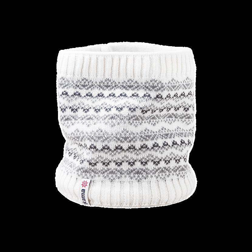 Kid's knitted merino neck warmer KAMA SB11  White