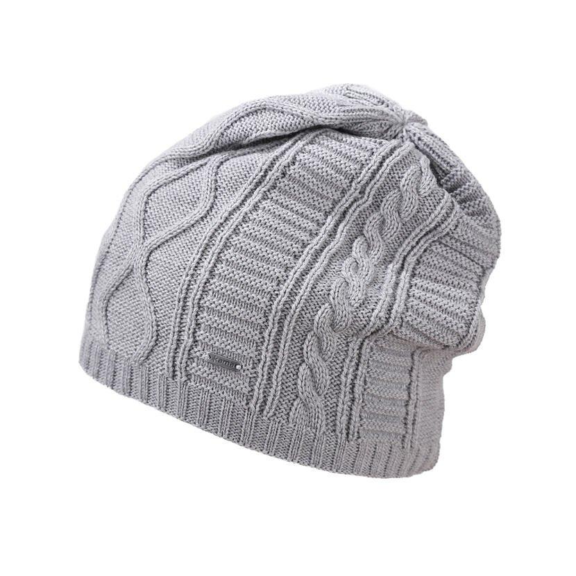 Pletená čiapka Merino Kama A150 svetlosivá