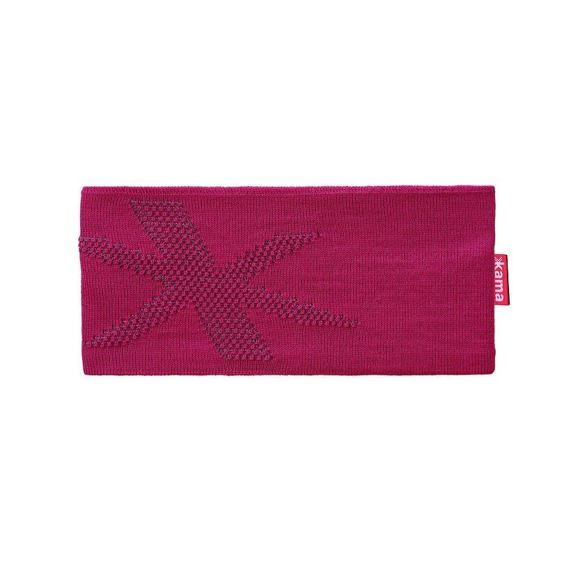 Bentiță tricotată merino KAMA C46 închis  Roz