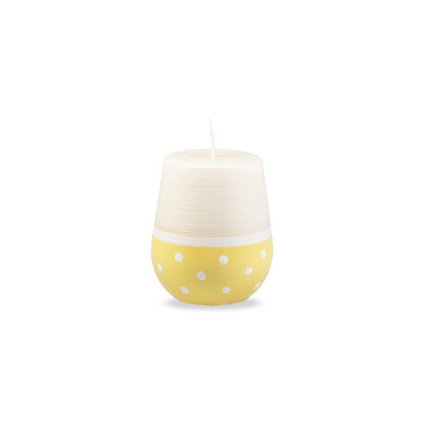 Svíčka oválná puntík žlutá