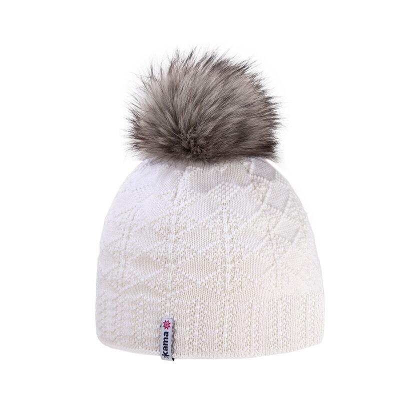 Women's knitted merino cap KAMA A109 -  White