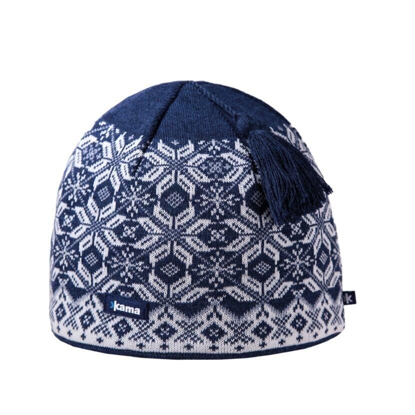 Pletená čiapka merino KAMAA57  tmavomodrá