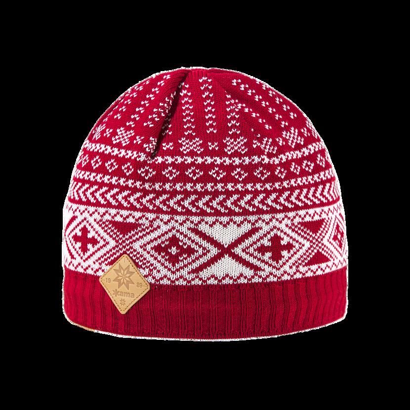 Căciulă tricotată Merino Kama A117 - Roșu
