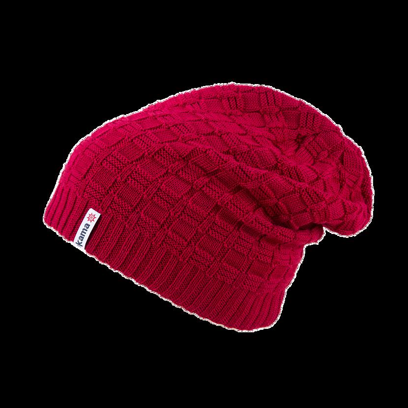 Pletená Merino čepice Kama A123 červená