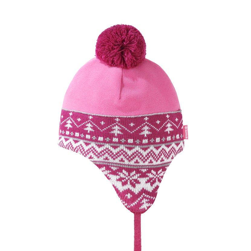 Detská pletená merino čiapka Kama B89 Ružová