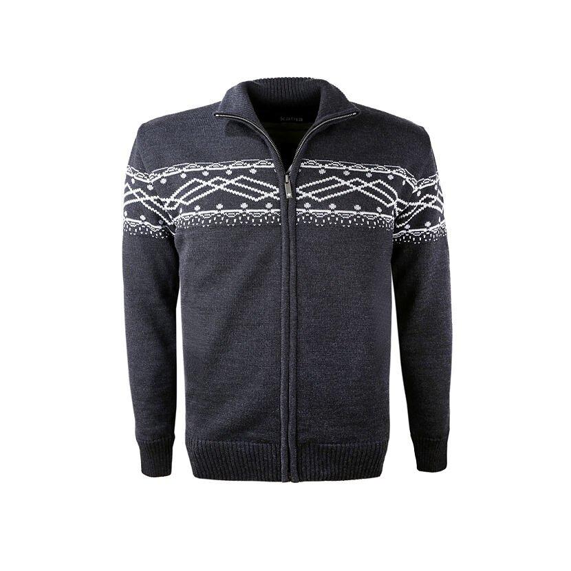 Men's Merino knit sweater Kama 3060 - Dark gray