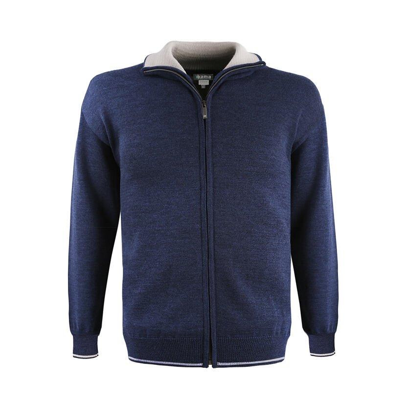 Pánský pletený svetr Merino Kama 3107 tmavě modrá