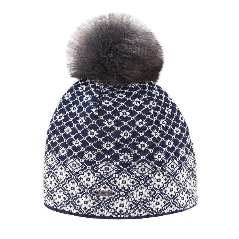 Căciula tricotată Merino Kama A158 - Albastru închis