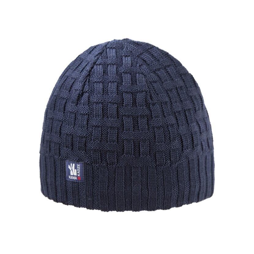 Pletená čiapka merino KAMAA112  tmavomodrá