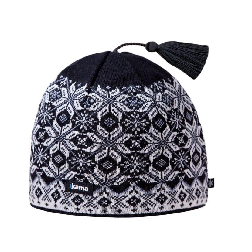 Knitted cap merino Kama A57 -  Black