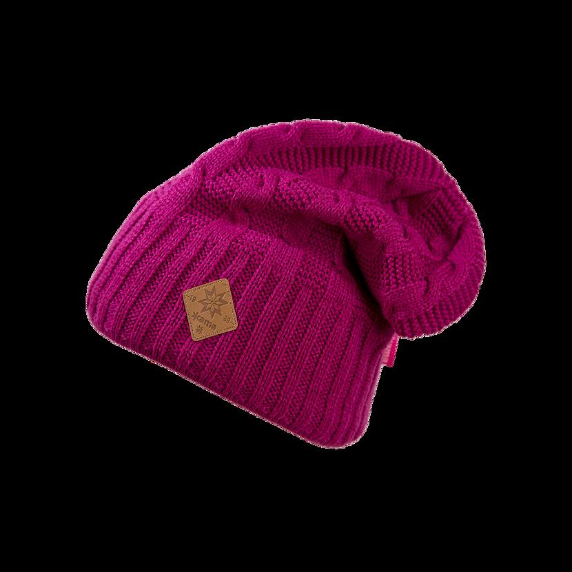 Pletená čiapka Merino Kama A107 ružová