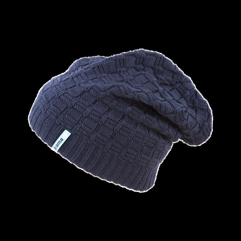 Knitted merino cap KAMA A123 - Dark Blue / Navy