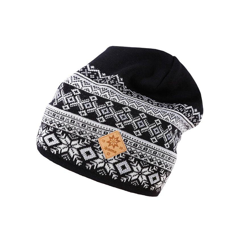 Căciulă tricotată merino KAMA A143  Negru