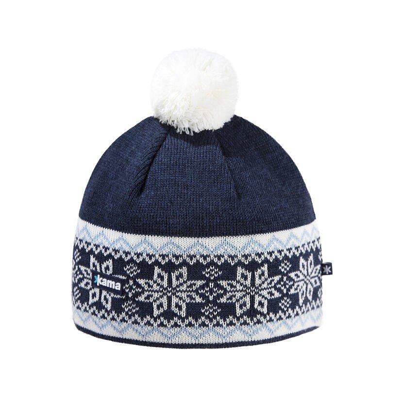 Căciulă tricotată merino KAMA A116  Albastru închis